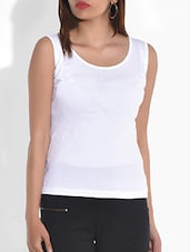 Solid White Cotton Jersey Tank Top - By