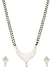 Embellished Gold Plated Mangalsutra And Earrings Set - By