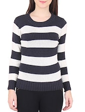 Black And White Striped Cotton Sweater - By