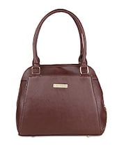 Solid Brown Leatherette Handbag - By