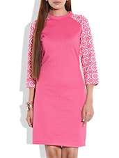 Pink Bodycon Dress With Printed Sleeves - By