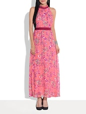 Pink Floral Print Halter-neck Maxi Dress - By