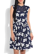Navy Blue Printed Dress With Lace Yoke - By