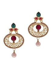Magenta Stone Embellished Pearl Drop Earrings - By