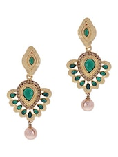 Gold Stone Embellished Pearl Drop Earrings - By