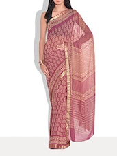 Pink Chiffon Printed Saree - By