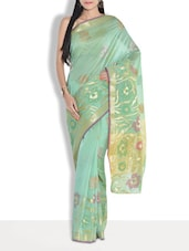 Green Cotton Silk Jacquard Saree - By