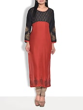 Red Printed Full Sleeved Rayon Long Kurta - By
