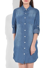 blue flat collared cotton denim top -  online shopping for Dresses