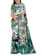 Blue N White Faux Georgette Printed Saree - By