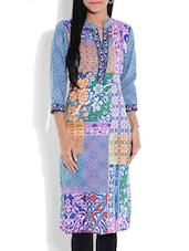 Multicolored Printed Quarter Sleeved Cotton Kurta - By
