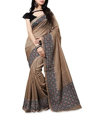 Brown Cotton Silk Printed Saree - By