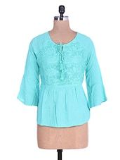 Solid Sea Green Laced Tunic With Dori Closure - By
