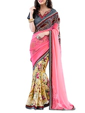 Pink And Yellow Floral Printed Georgette Saree - By