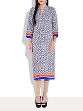 Multicolored Printed Kurta With Mandarin Collar - By