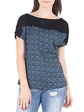 Blue And Black Polycrepe Printed Top - By