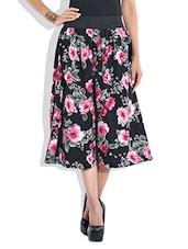 Black floral print culottes -  online shopping for Capris
