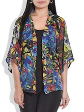 Multicolored Printed Georgette Shrug - By