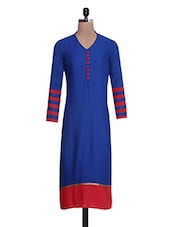 Blue And Red Rayon Striped Kurti - By