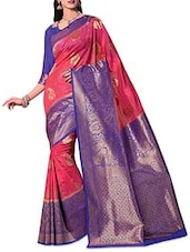 Peach N Blue Brocade Art Kanjivaram Silk Saree - By