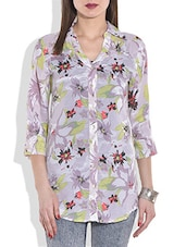 White And Grey Floral Printed Shirt - By