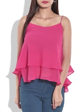 Pink Sleeveless Layered Top - By