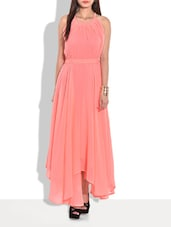 Peach Flared Halter Neck Maxi Dress - By
