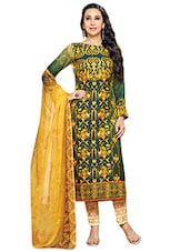 Dark Green Printed Semi-stitched Suit Set - By