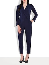 Solid Navy Blue Jacket Style Jumpsuit - By