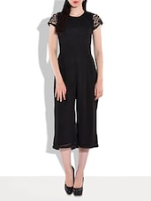Solid Black Cap Sleeved Jumpsuit - By