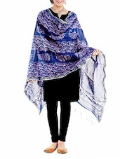 Blue N Off-white Handblock Printed Chanderi Dupatta - By