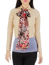 Beige Jacket With Scarf Neck Tie-up - By