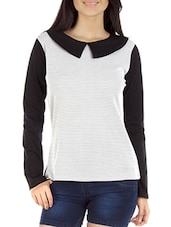 Black N White Peter Pan Collared Top - By