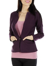 Dark Purple N Black Short Jacket - By
