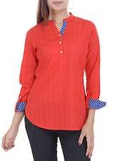Red And Blue Plain Short Cotton Kurti - By