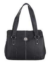 Solid Black Leatherette Handbag - By