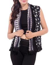 Black Cotton Printed Shrug - By