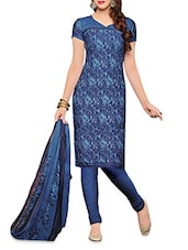Blue Printed Poly Crepe Unstitched Suit Set - By