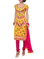 Yellow And Pink Embroidered Unstitched Suit Set - By