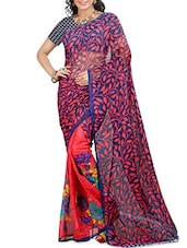 Red And Blue Faux Georgette Printed Sari - By