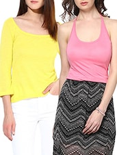 Set Of 2 Solid Pink And Yellow Viscose Tops - By