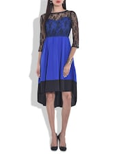 Royal Blue Hi-low Dress With Laced Yoke - By