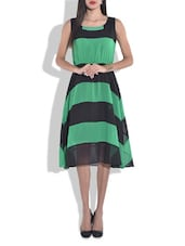 Green And Black Striped Flared Dress - By