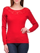 Solid Red Full Sleeved Boat Neck Pullover - By