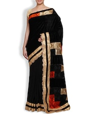 Black Embroidered Velvet Saree - By