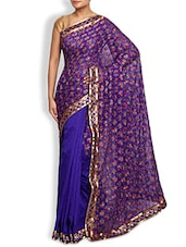Blue Embroidered Dupion Silk Saree - By