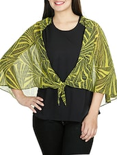 Black N Lime Green Scarf-knotted Layered Top - By