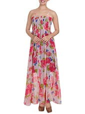 Cream N Pink Floral Strappy Maxi Dress - By