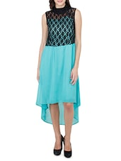 Black And Sky Blue High Low Dress - By