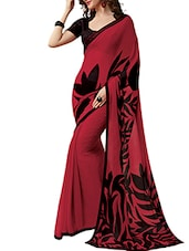 Red Floral Georgette Saree - By